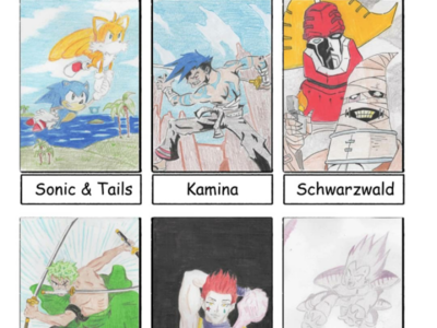 Six Fanarts Vol 1 the big o one piece hunterxhunter dragonball schwarzwald zoro hisoka tails sonic vegeta six fanarts anime colored pencil illustration
