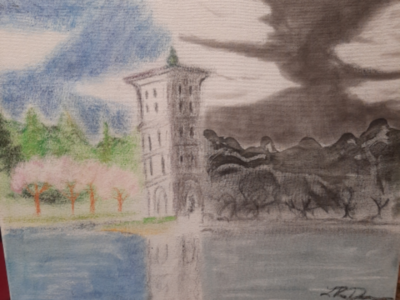 Bell Tower landscape furman university bell tower painting charcoal