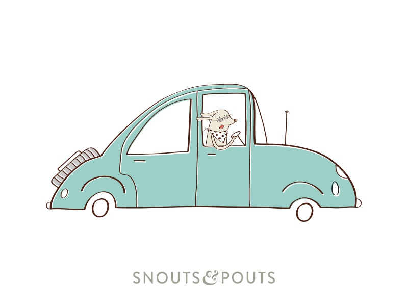Snouts & Pouts advertising product dog beds puppy dog illustration