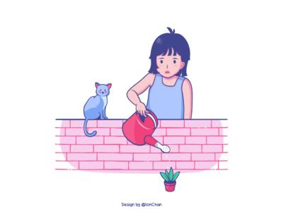 Watering plant sprinkler wall water watering pink cat girl flower illustrations