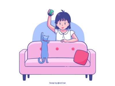 Catch your cans cute sofa catch pink illustrations girl cans can cat