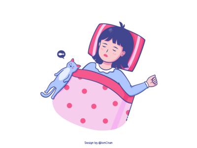 Sleeping sleeping sleep illustration pink fish dream quilt pillow girl cat