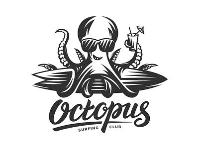 Octopus surfing surf board surf summer sport octopus lettering club branding vector illustration design animal logo