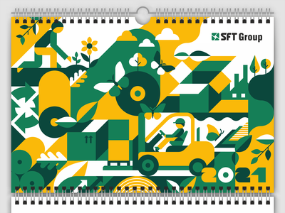 Wall Calendar Cover production ecology plant company loader flowers butterflies working design vector illustration people flat geometric paper boxes wastepaper corrugated packaging calendar corrugated industry