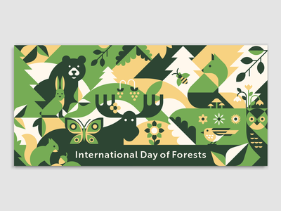 International Day of Forests geometric squirrel rabbit geometry fox forest day flowers elk ecology card butterfly bird bee bear forest owl flat vector illustration animal