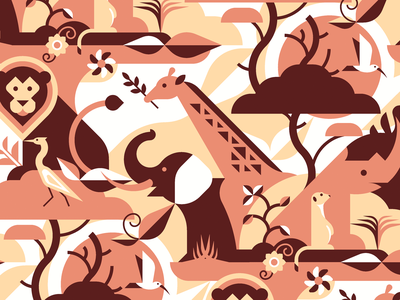 African Savanna Animals Pattern animal illustration vector flat geometric pattern lion rhinoceros elephant giraffe bird savanna africa meerkat rhino seamless flat design