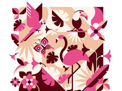 Tropical flower and bird geometric flat illustration hummingbird leaves flowers paradise toucan flamingo parrot butterfly geometic flat vector illustration animal