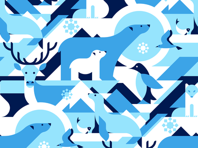 Animals in Arctical vector seamless geometric