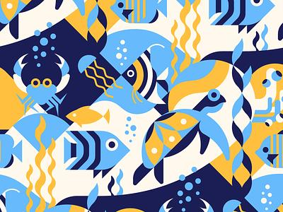 Underwater seamless pattern geometric style underwater tropical seaweed seamless sea pattern ocean nature marine jellyfish geometric fish crab coral aquatic aquarium water vector tropical fish