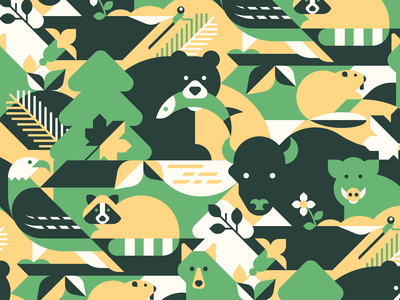 Forest vector seamless pattern seamless geometric wolf animal vector