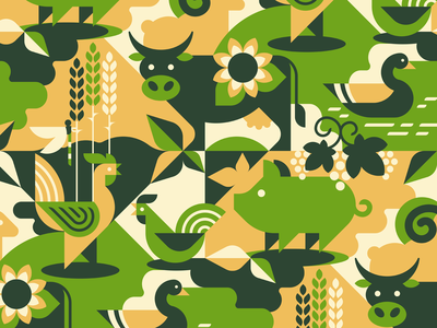 Farm animals seamless pattern agriculture wheat seamless ram pig pattern mammal illustrations grapes goose geometric farm ecology duck dragonfly cow cock animal a hen sheep