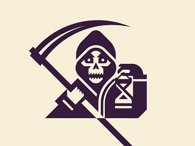 Grim Reaper Halloween Logo flat emblem horror scythe skull halloween death grim reaper geometric logo vector