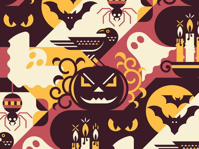 Halloween Seamless Pattern autumn holiday horror ghost bat candle spider geometric vector flat raven pumpkin pattern seamless halloween