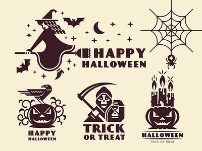 Halloween logo autumn skull scythe emblem logo vector death grim reaper candle web pumpkin bat flat geometric halloween holiday horror raven spider witch