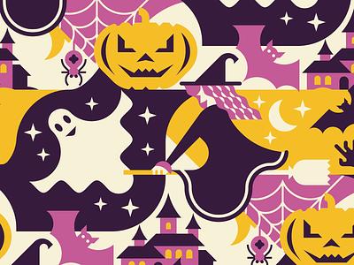 Halloween Seamless Pattern holiday night zombie arm castle web spider horror bat ghost pumpkin witch halloween vector flat geometric