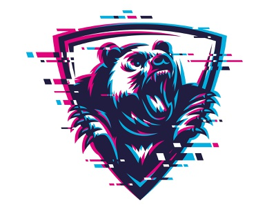 Furious Bear, Grizzly print design wild vector t shirt print predator power mascot mammal illustration head grizzly glitch art glitch face design beast bear animal angry