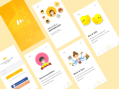 Walkthrough screens for Mom Community day2 minimal ux design ui app 100 days ui challenge