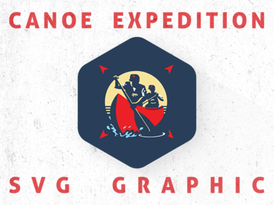 Canoe Expedition outdoors illustration graphic ai vector svg boat wilderness trek scouts canoe