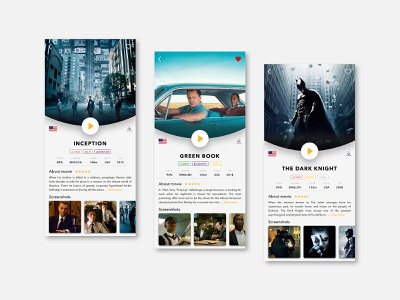 Detail screen of new Movie App icon flat concept user interface illustration flatdesign iphone clean application sketch vector films movies movie app ux ui mobile design mobile app appdesign app