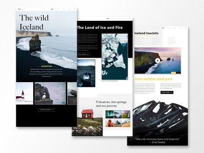 All Iceland Landing Page wild animation video hiking mountain sky island iceland travel ux ui ux sketch web design website wireframe adventure