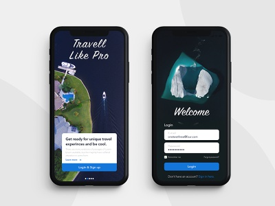 Travel Like Pro - Mobile App application user interface branding vector desginer designs ux ui design page sign up login iphone app travelling travel sketchapp sketch