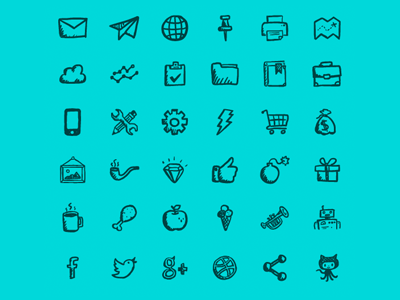 Jolly Icons Free hand-drawn icons set ui free gui design app social icons health media interface e-commerce icons doodle sketch hatchers jollyicons awesome