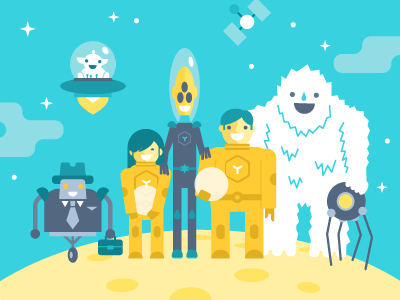 Spaceship Crew illustration vector flat space spaceship planet crew spaceman robot alien cosmonaut hatchers