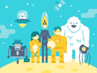 Spaceship Crew illustration vector flat space spaceship planet crew spaceman robot alien cosmonaut hatchers
