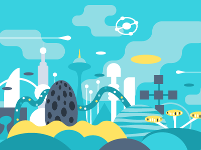 Future City illustration vector flat space city yellow future blue architecture hatchers