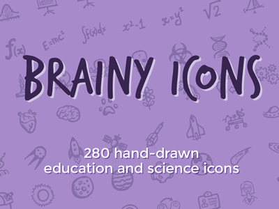 Brainy Icons hand-drawn icons ui science education school space scientist free freebie doodle sketch