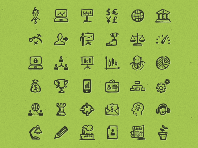 Busy Icons Free sketch doodle freebie free business start-up finance e-commerce management ui icons hand-drawn