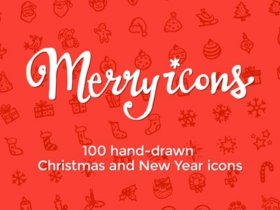 Merry Icons Logo logo lettering typo hand-drawn calligraphy christmas xmas icons