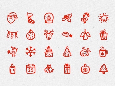 Merry Icons hand-drawn icons christmas xmas new year santa holiday snowflake doodle sketch