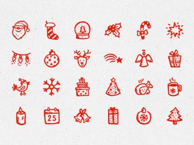 Merry Icons hand-drawn icons christmas xmas new year santa holiday snowflake doodle sketch