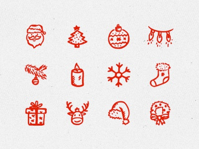 Merry Icons Free sketch doodle snowflake holiday santa new year xmas christmas icons hand-drawn freebie free