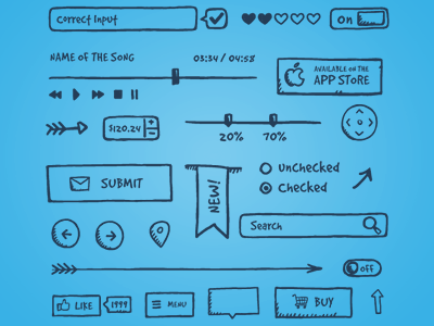 Jolly UI elements icons hand-drawn ui logo ui kit ui elements sketch wireframe web design app design interface handdrawn