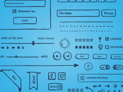 Jolly Ui Free handdrawn interface app design wireframe sketch ui elements web design ui hand-drawn icons free freebie