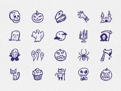 Spooky Icons — hand-drawn Halloween icons sketch doodle hand-drawn icons holiday icons pumpkin halloween scary vampire ghost hand-drawn