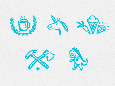 Hand-drawn icons for HELOHOLO.COM hand-drawn hand-drawn icons sketch draw doodle unicorn blog