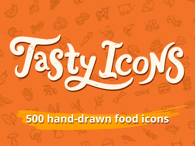 Tasty Icons Logo – hand-drawn food icons logo lettering calligraphy hand-drawn food food icons handdrawn restaurant kitchen hand-drawn icons hand-drawn vectors