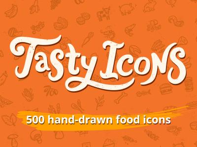 Tasty Icons Logo – hand-drawn food icons logo lettering calligraphy hand-drawn food food icons handdrawn restaurant kitchen hand-drawn icons hand-drawn vectors