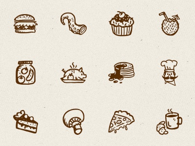 Tasty Icons – 500 hand-drawn food icons hand-drawn food food icons handdrawn restaurant kitchen hand-drawn icons hand-drawn vectors doodle sketch