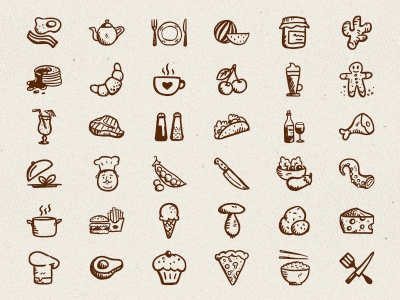 Tasty Icons Free – 36 hand-drawn food icon free freebie hand-drawn vectors hand-drawn icons free icons restaurant handdrawn food icons food hand-drawn