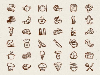 Tasty Icons Free – 36 hand-drawn food icon free freebie hand-drawn vectors hand-drawn icons free icons restaurant handdrawn food icons food hand-drawn