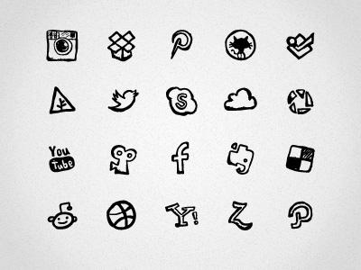 23 hand drawn social icons