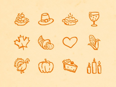 Hand-drawn Thanksgiving Icons ink sketch pen black doodle holiday hatchers icons thanksgiving