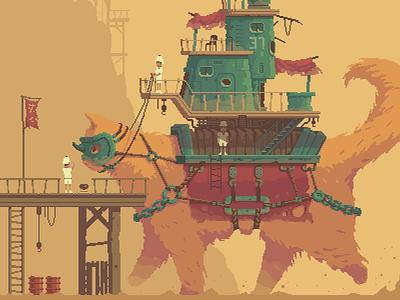 Giant Cat moebius myazaki fantasy colossus giant cat art pixel