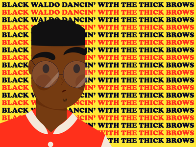 Black Waldo pt1 afro black dirty computer line art illustration brazil graphic desgin