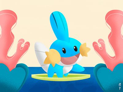 Mudkip graphic design texture vector grain design illustration brazil pokeball mudkip pokemon