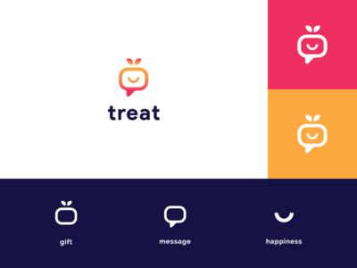 Treat App - Logo Concept #2 modern gift app message app minimalist concept logo design blue gradient orange treat gift internet app mobile brand identity branding logo